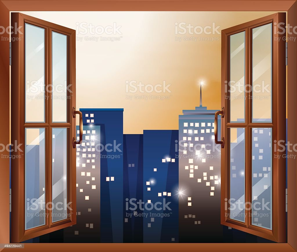Open window across the city buildings vector art illustration