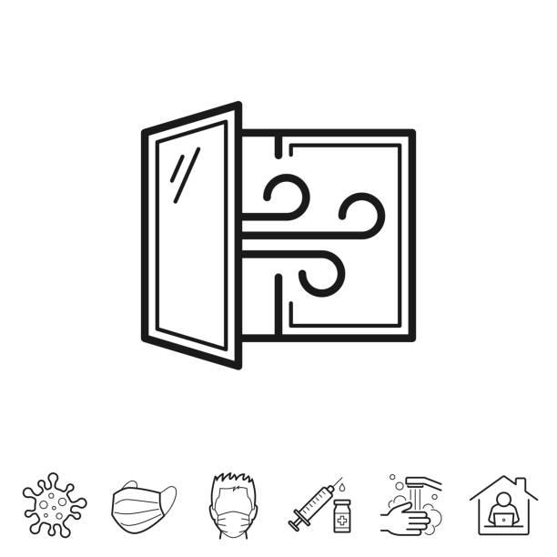 Open window - Airing the room. Line icon - Editable stroke vector art illustration