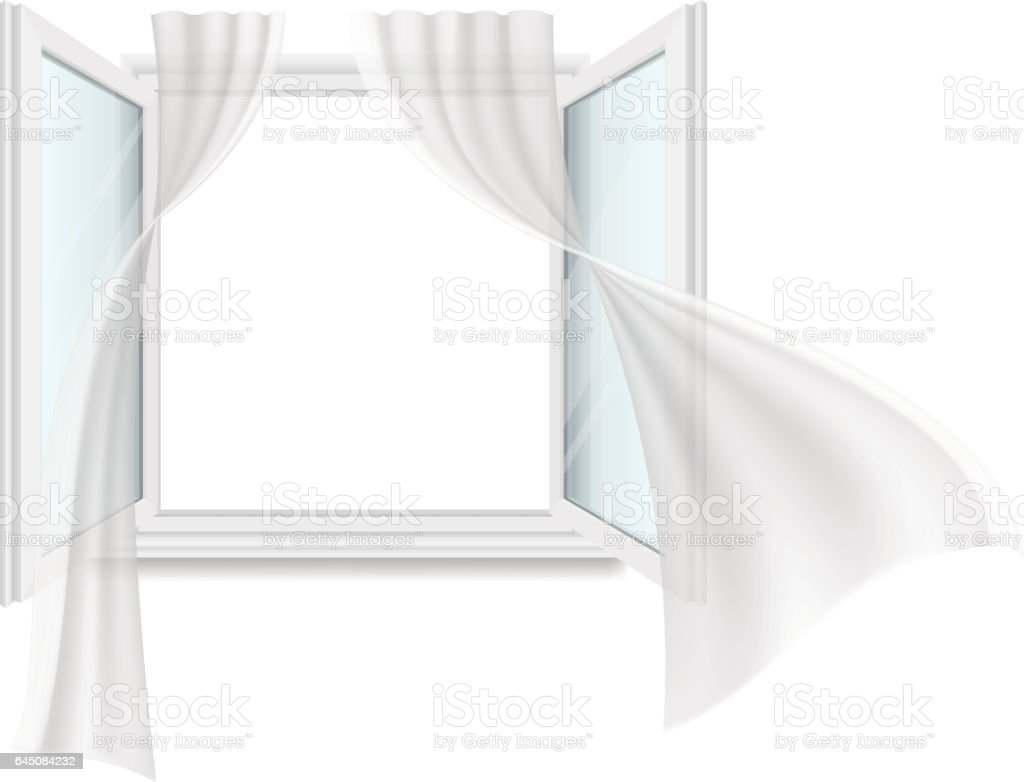 Open Window And Fluttering Curtains Stock Vector Art  for Window With Curtains Illustration  45ifm