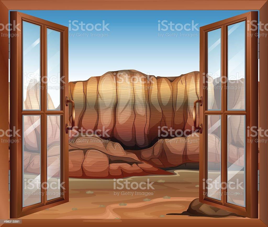 Open window at the desert vector art illustration