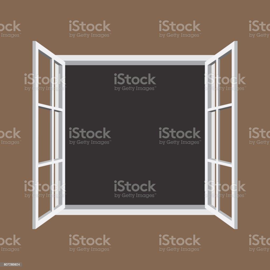 Open window frame icon vector art illustration