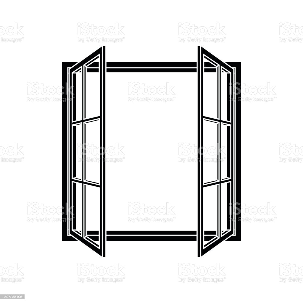 Open Window Frame Icon Stock Vector Art & More Images of Apartment ...