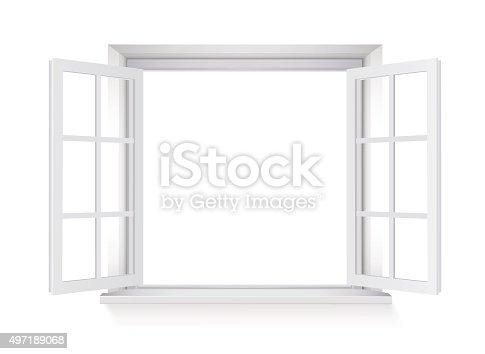 istock open window isolated on white background 497189068