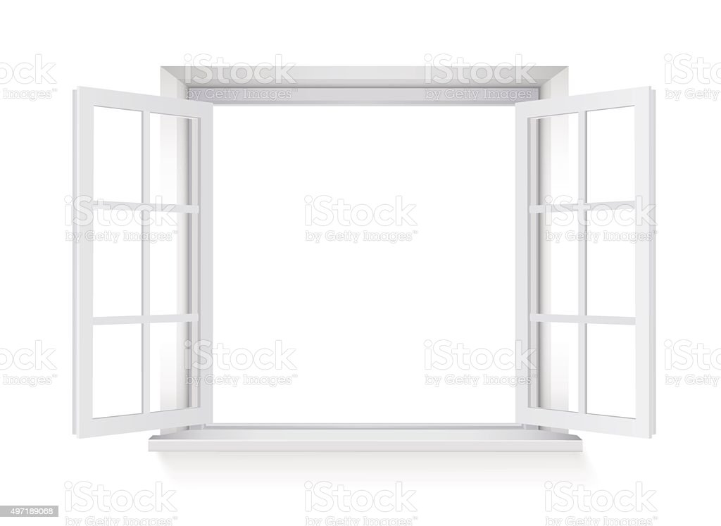 open window isolated on white background vector art illustration