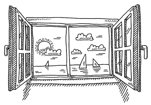 Open Window Looking To The Sea Drawing Hand-drawn vector drawing of an Open Window, Looking To The Sea. Black-and-White sketch on a transparent background (.eps-file). Included files are EPS (v10) and Hi-Res JPG. environment stock illustrations