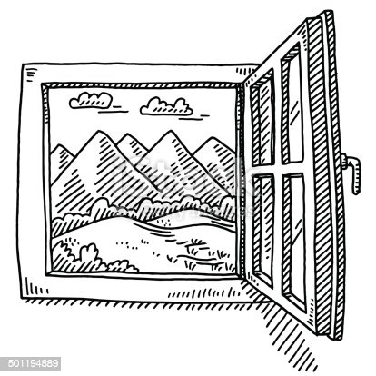 Ouvrir la fen tre de dessin paysage de montagne cliparts for Ouvrir la fenetre