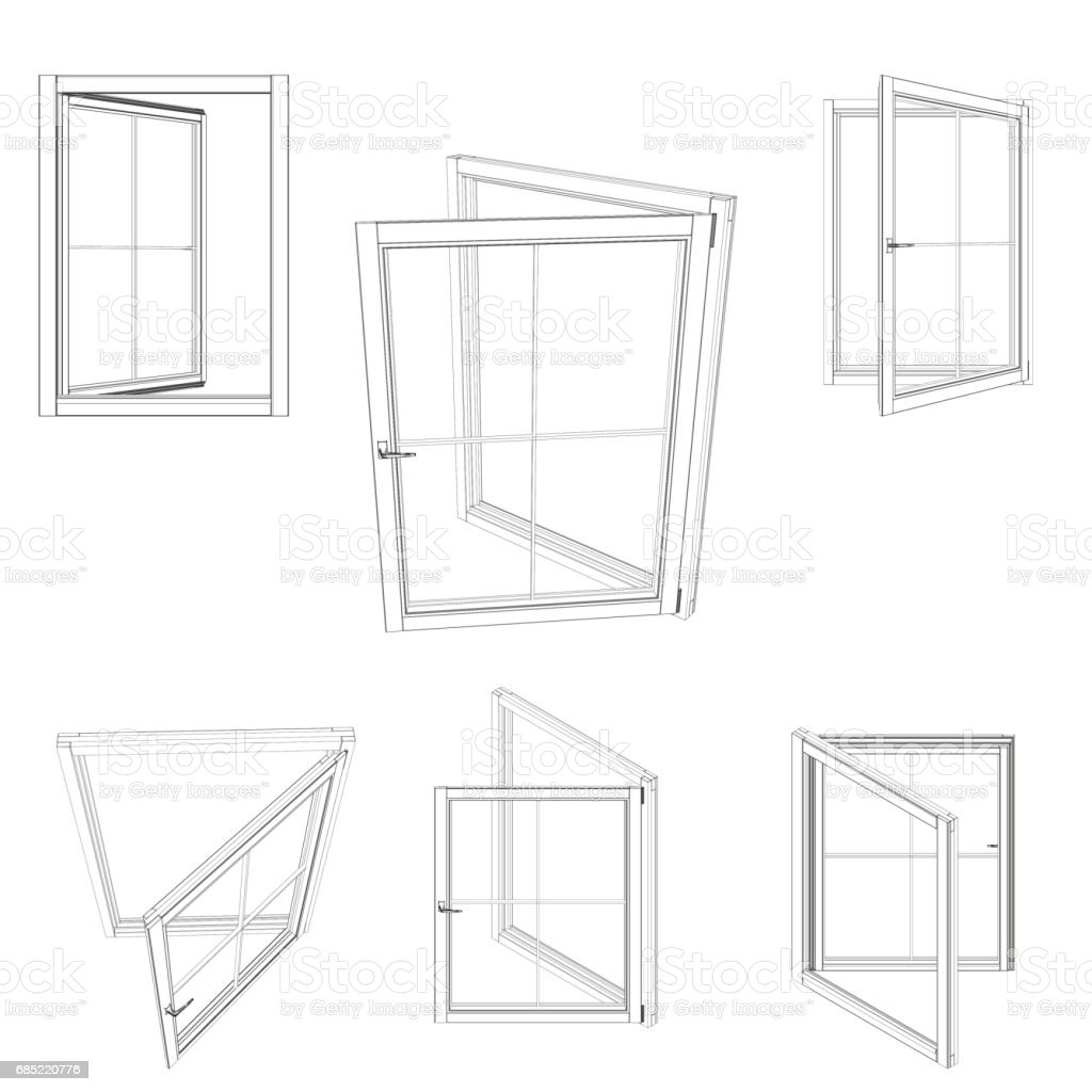 Open window set.Isolated on white background. Vector outline illustration. open window setisolated on white background vector outline illustration - arte vetorial de stock e mais imagens de aberto royalty-free