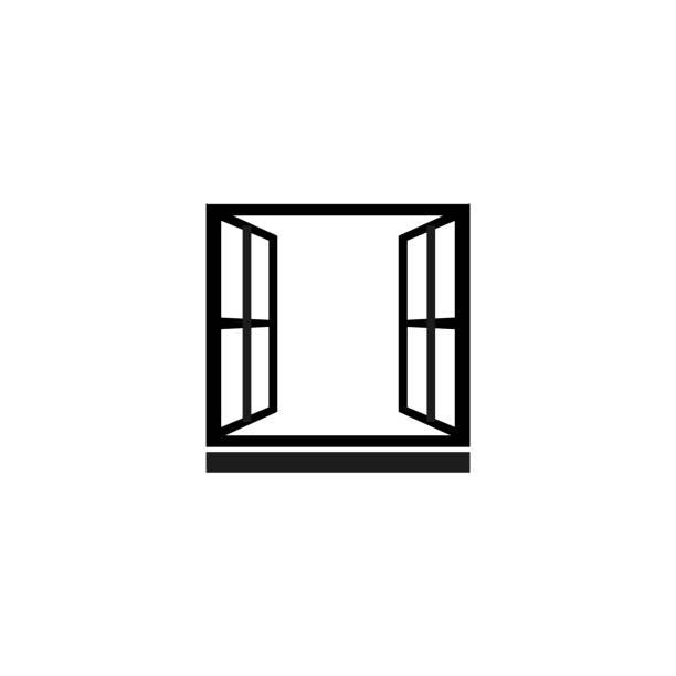 stockillustraties, clipart, cartoons en iconen met open venster, vector pictogram - raam