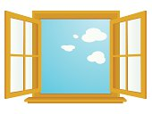 vector cartoon-style illustration of an open window, with a blue sky in background. zip file contains additional AICS2 and PDF formats