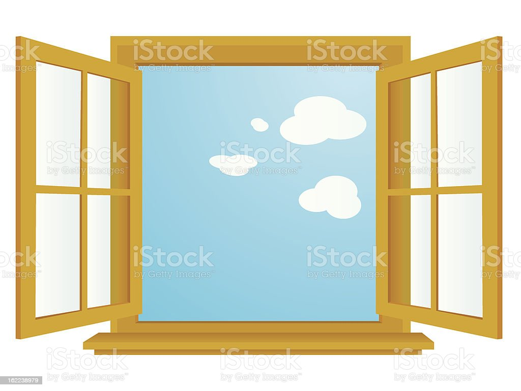 open window vector art illustration