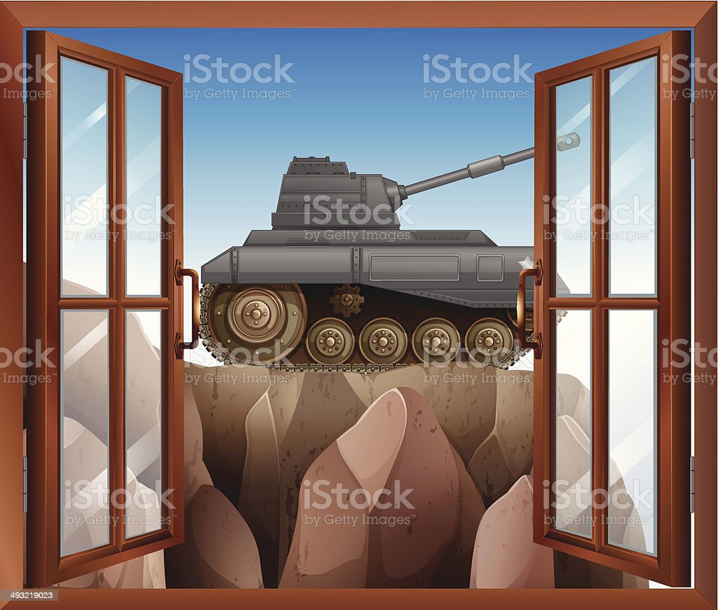 Open window with a view of the armoured tank vector art illustration