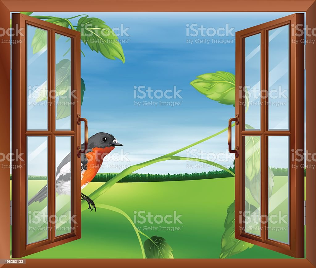 Open window with a view of the bird outside vector art illustration