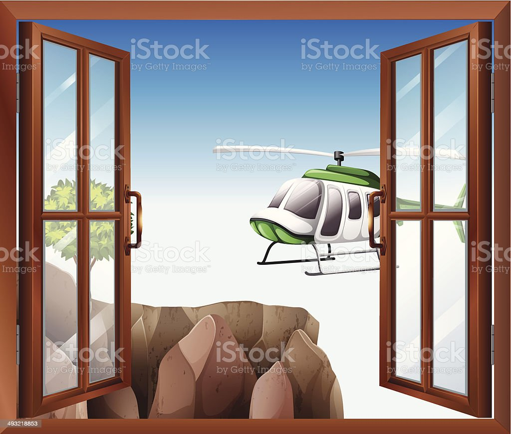 Open window with a view of the chopper vector art illustration
