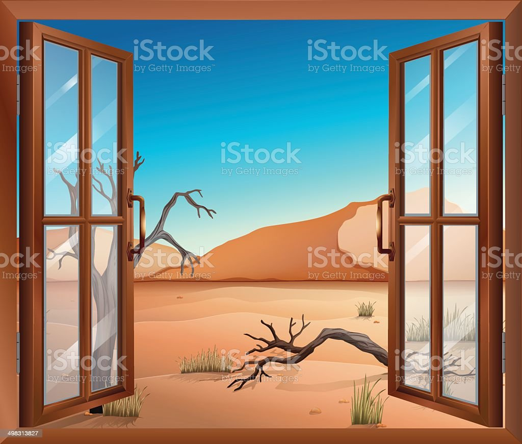 Open window with a view of the desert vector art illustration