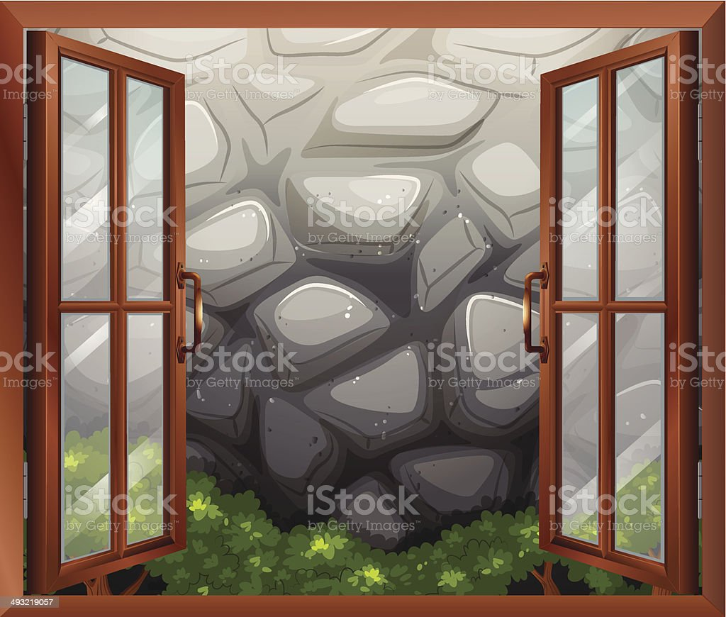 Open window with a view of the stonewall vector art illustration