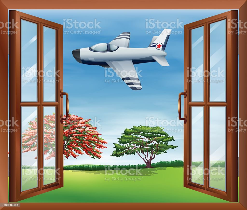 Open window with an airplane outside vector art illustration