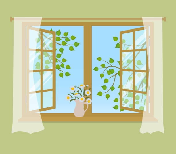 Open window with curtains on a green background vector art illustration