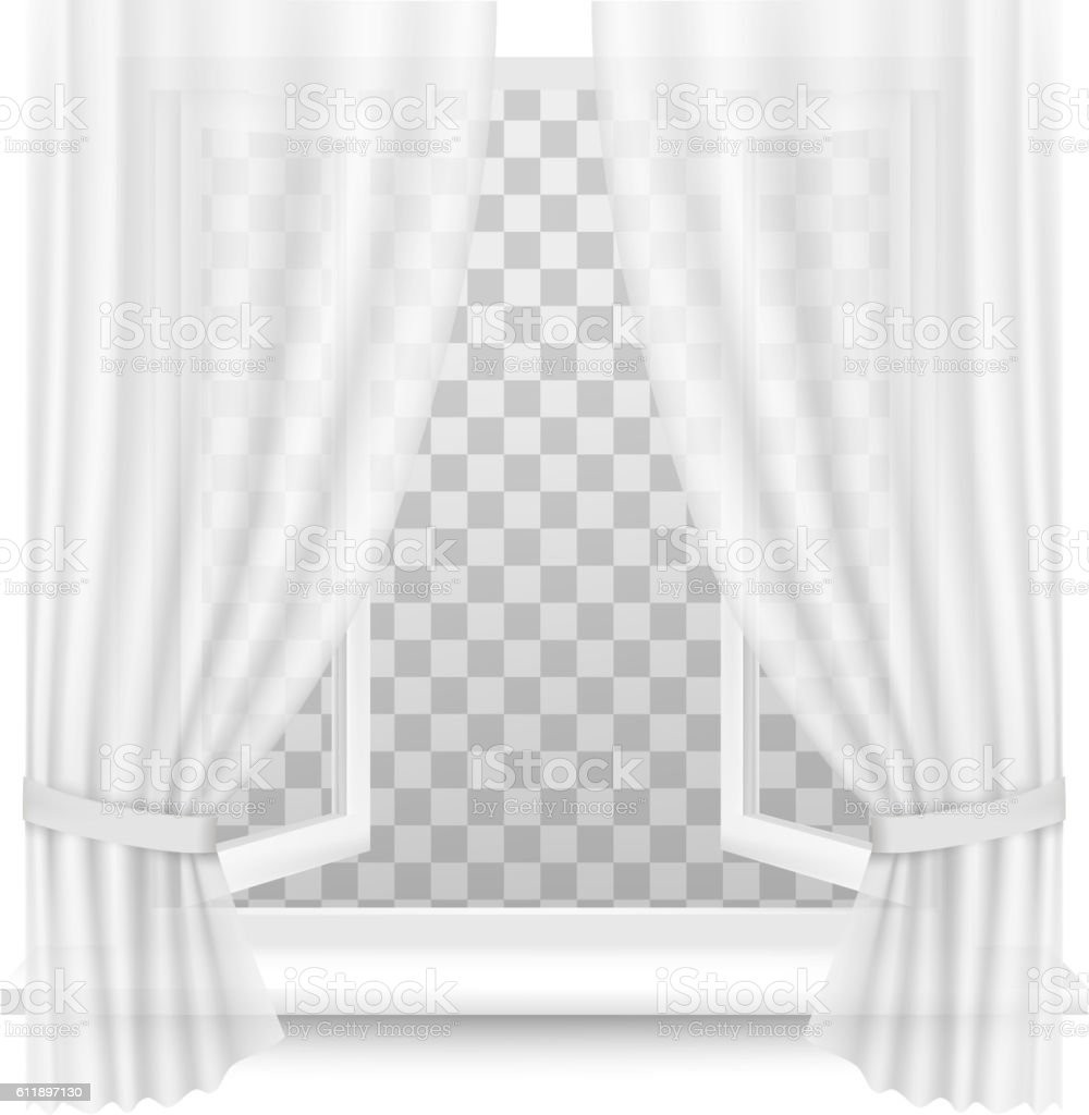 Open window with curtains on a transparent background. Vector. royalty-free open window  sc 1 st  iStock & Open Window With Curtains On A Transparent Background Vector Stock ...
