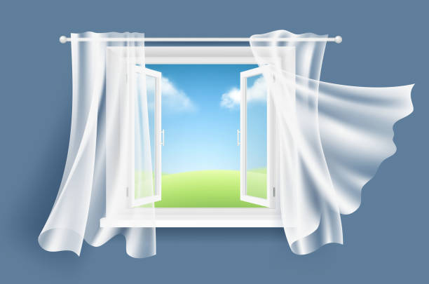 ilustrações de stock, clip art, desenhos animados e ícones de open window with curtains. sunny background with glass light window and flowing fluttering fabric curtain vector realistic - open window