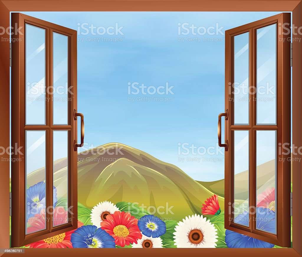 Open window with flowers outside vector art illustration
