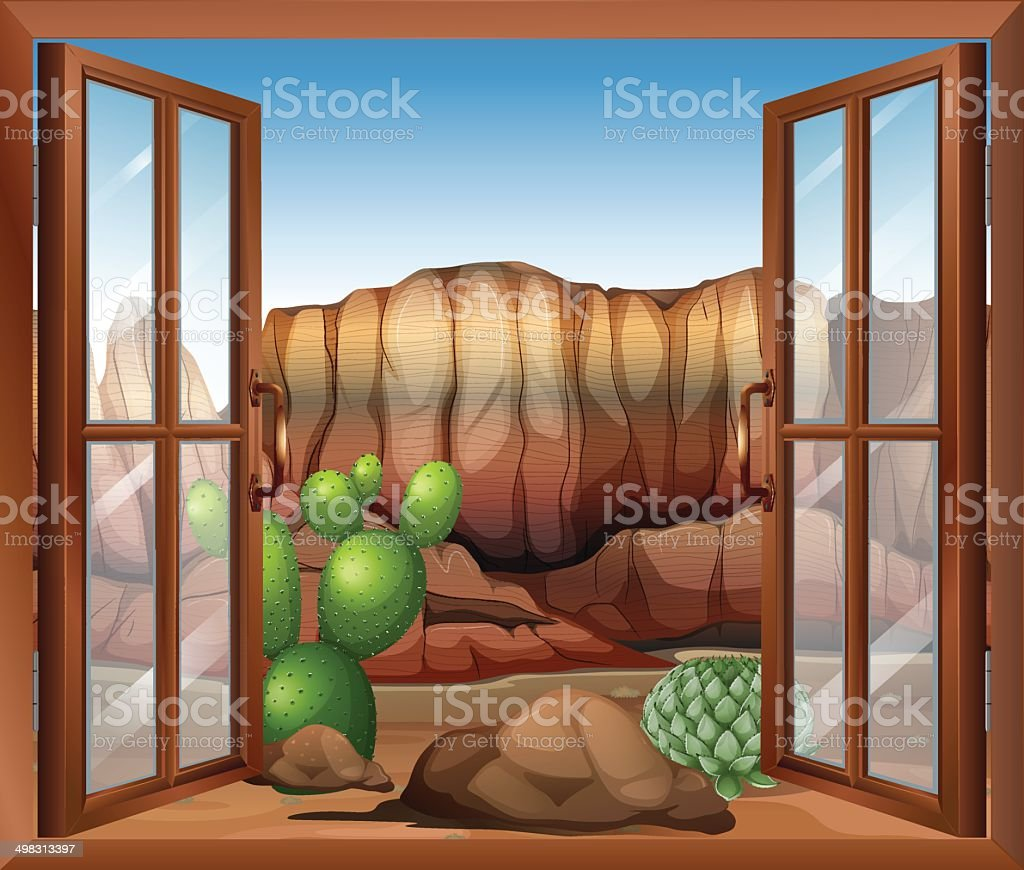 Open window with view of the desert and cactus plants vector art illustration
