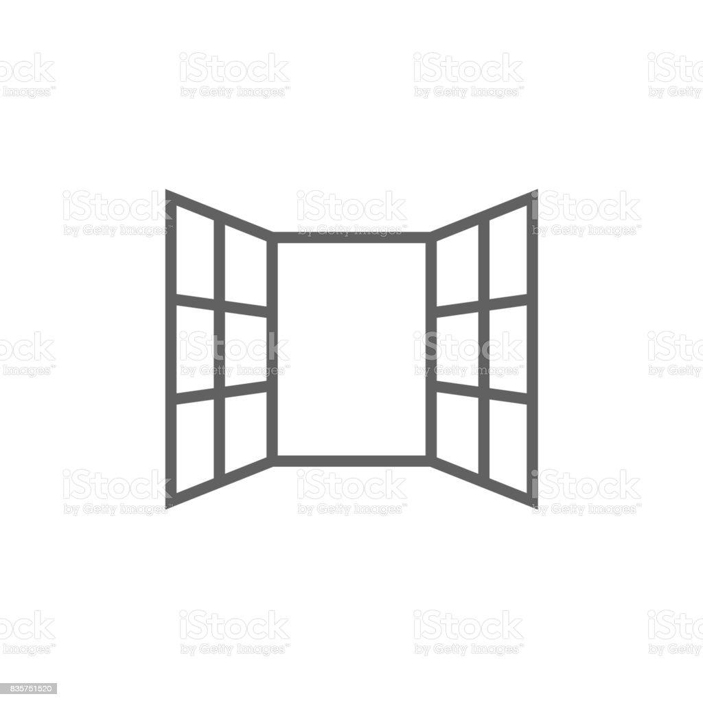 Fenêtres ouvertes line icon - Illustration vectorielle