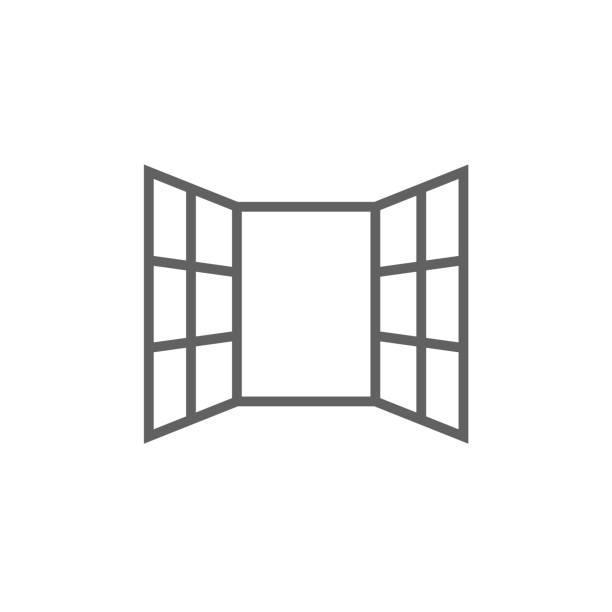 illustrations, cliparts, dessins animés et icônes de fenêtres ouvertes line icon - nouveau foyer