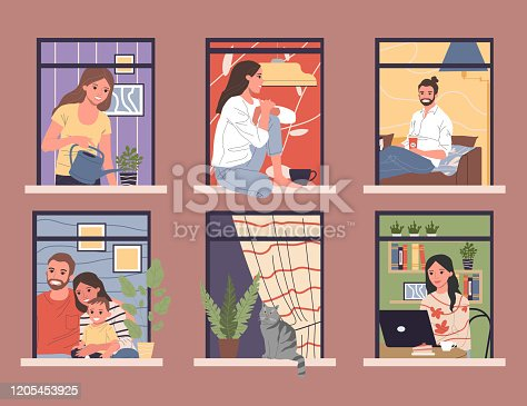 istock Open windows with diverse and friendly neighbors in apartments 1205453925