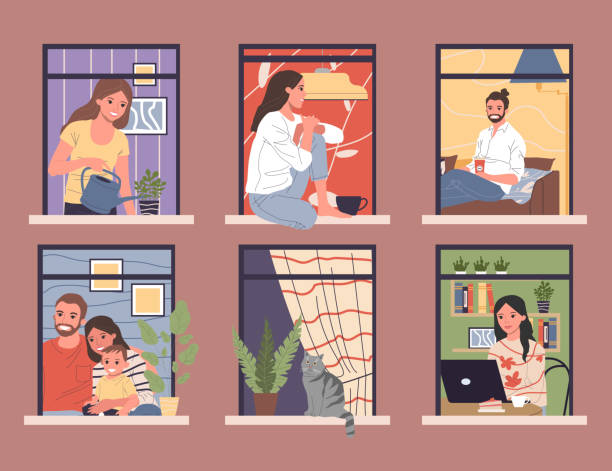 stockillustraties, clipart, cartoons en iconen met open ramen met diverse en vriendelijke buren in appartementen - raam