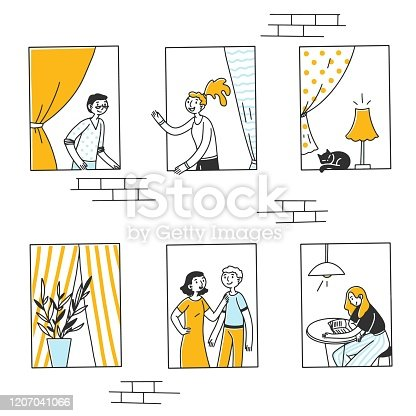 istock Open windows with people and cat inside apartments 1207041066