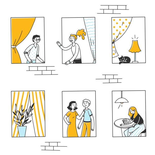 stockillustraties, clipart, cartoons en iconen met open vensters met mensen en kat binnen flats - buren