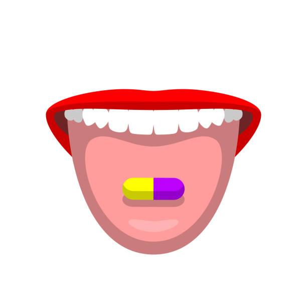 illustrazioni stock, clip art, cartoni animati e icone di tendenza di open woman's mouth and colorful pill on tongue - smile woman open mouth