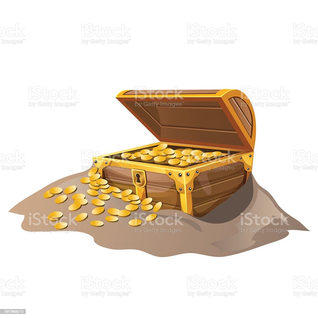 Open wooden pirate chest in sand with Golden coins vector art illustration