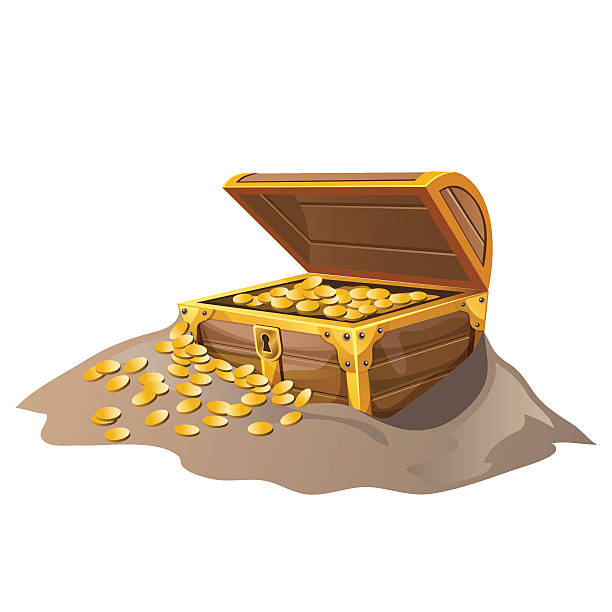 Open wooden pirate chest in sand with Golden coins Open wooden pirate chest in the sand with Golden coins. Vector isolated illustration antiquities stock illustrations
