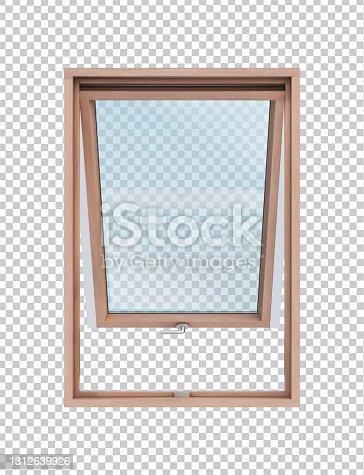 istock Open wooden window on transparent background vector illustration 1312639926