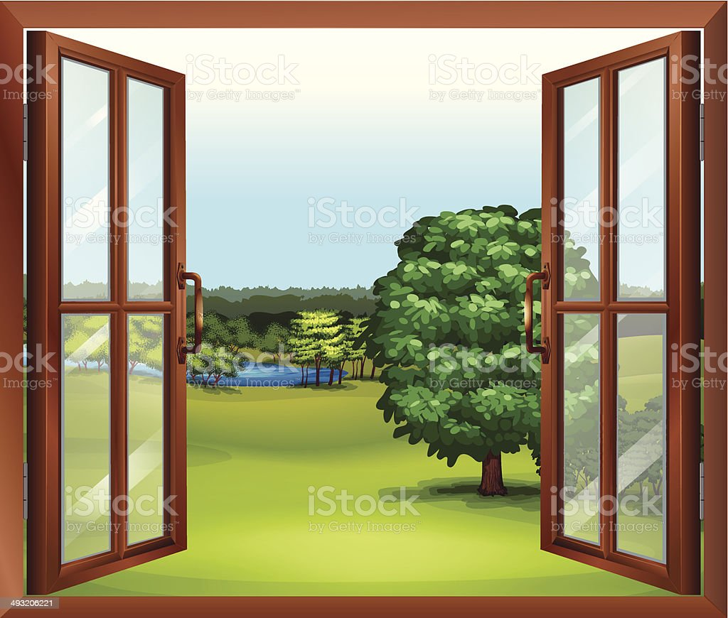 Open wooden window vector art illustration