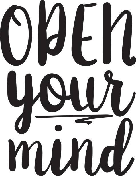 Öffnen Sie Ihren Geist Inspiration Zitate Schriftzug. Kalligraphie-Grafik-Design-Zeichen-Element. Vektor handgeschriebenen Brief Stil Zitat Gestaltungselement – Vektorgrafik