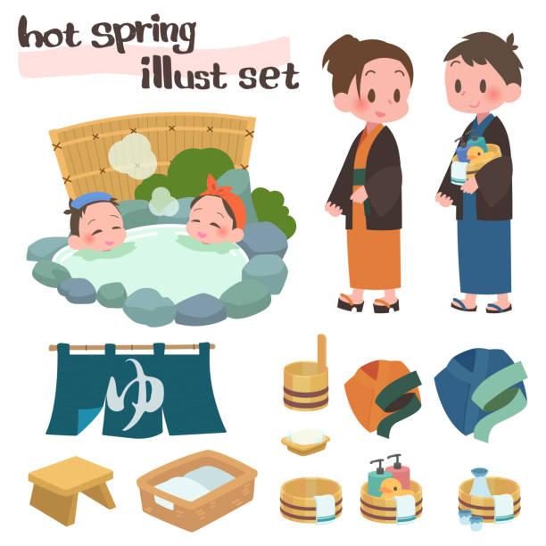 illustrazioni stock, clip art, cartoni animati e icone di tendenza di open-air baths hot springs travel sex set - solo giapponesi