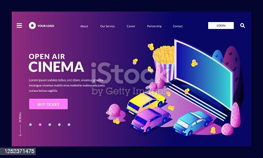 istock Open-air car cinema entertainment concept. Vector 3d isometric illustration. Automobiles parked in front of movie screen 1252371475