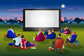 Open-air cinema vector flat cartoon illustration. People watching movie in night city park on large screen. Outdoor leisure, relax and fun. Film festival, events and entertainment presentation concept