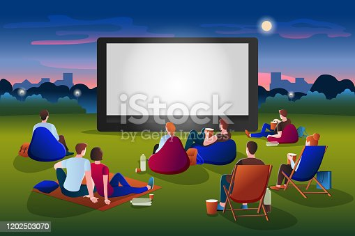 istock Open-air cinema vector illustration. People watching movie in night city park. Film festival and presentation concept 1202503070