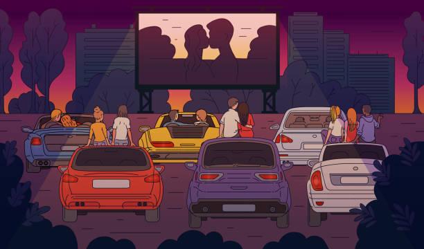 illustrations, cliparts, dessins animés et icônes de cinéma en plein air avec des personnes regardant le dessin animé de dessin animé de film illustration vector. - voiture nuit