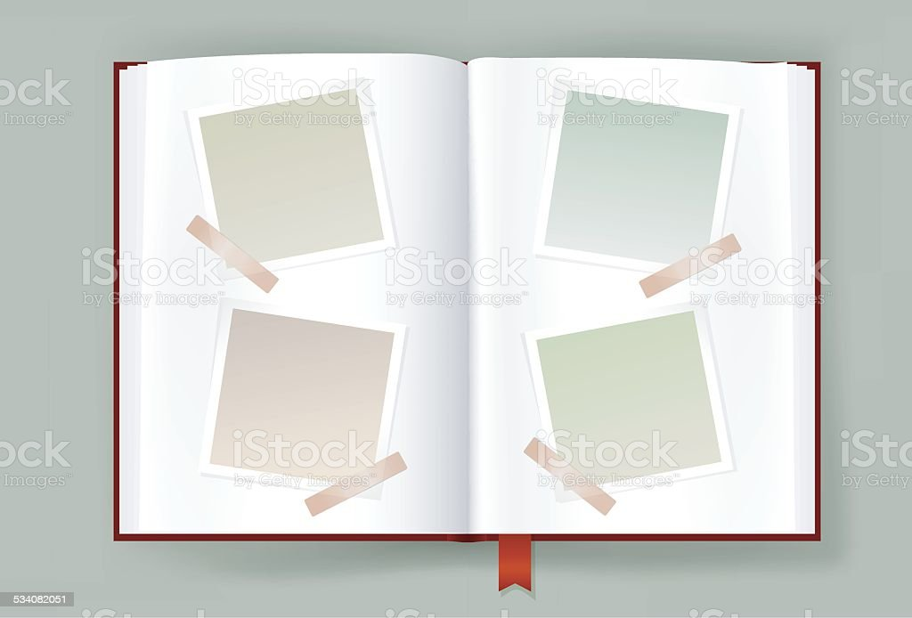 Opened Album With Blank Photo Frames vector art illustration