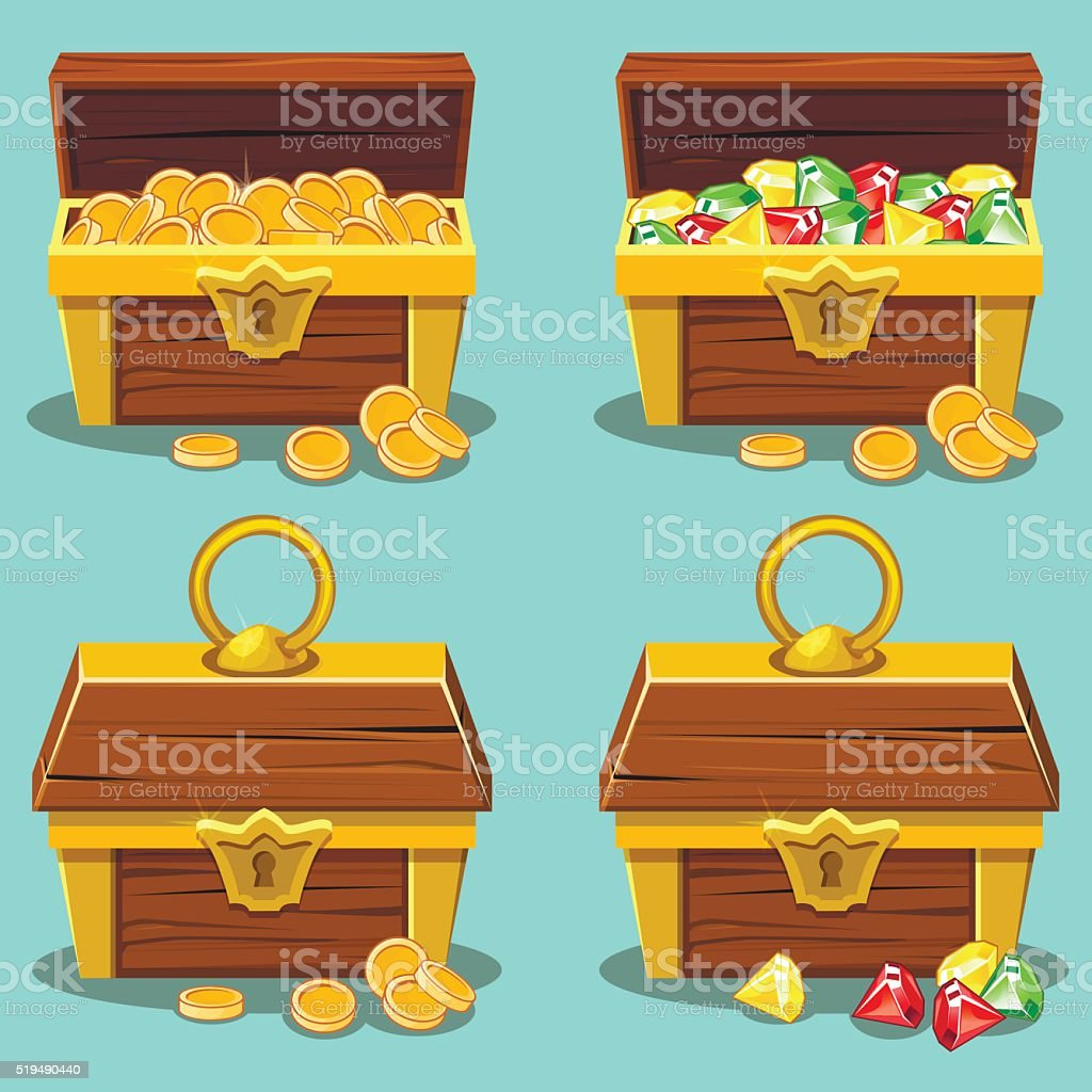 Opened and closed antique treasure chest vector art illustration