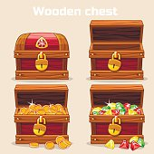 Opened and closed chest with coins diamonds