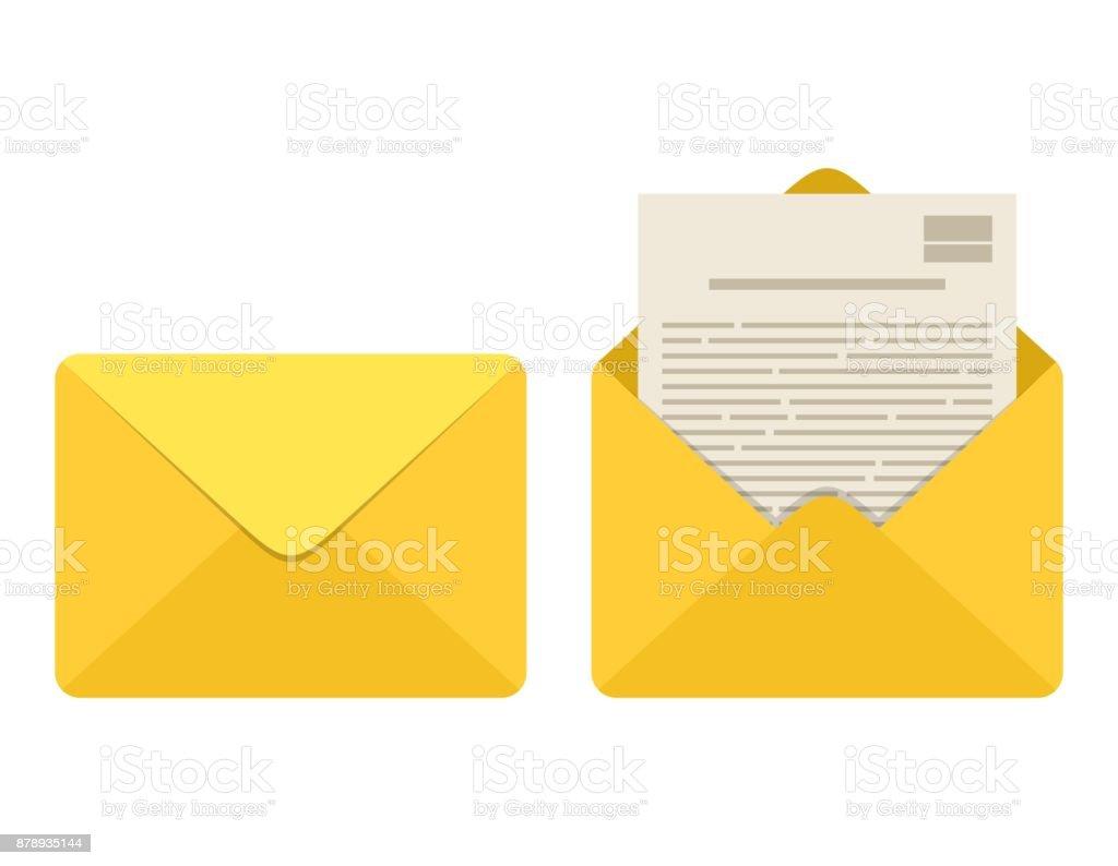 Geöffneten Und Geschlossenen Umschlag Mit Hinweis Papierkarte ...