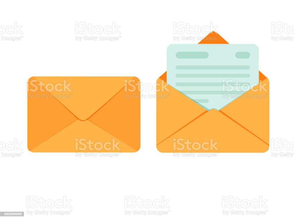 Opened and closed envelope with note paper card. Mail icon. Vector illustration vector art illustration