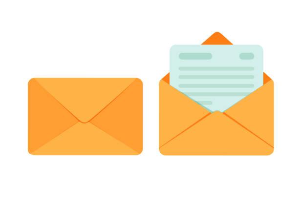 Geöffneten und geschlossenen Umschlag mit Hinweis Papierkarte. Symbol