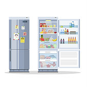 Opened and closed fridge or refrigerator with food. Milk, fruit and vegetable, alcohol inside. Isolated vector flat illustration