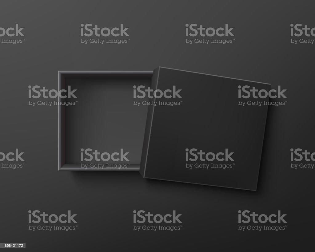 Ouvert le coffret vide noir sur fond sombre. - Illustration vectorielle
